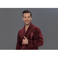 Халат мужской, махра+велюр арт.PR-hlt2040 red