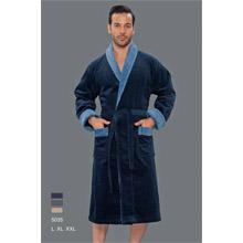 Халат мужской, махра+велюр арт.PR-hlt5035-Blu