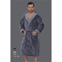 Халат мужской, махра+велюр,арт.PR-hlt5040-grey