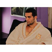 Халат мужской, махра+велюр арт.PR-hlt7910-bezh