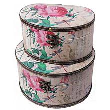 Шкатулка-сундучок Розовые пионы, набор из 2-х шт RL-10302