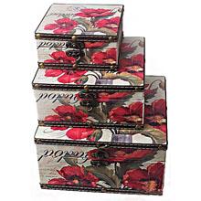 Шкатулка-сундучок Красные маки, набор из 3-х шт RL-10413