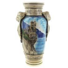 "Ваза напольная керамика, роспись  ""Замок на скале"", h-64 см, SL3"