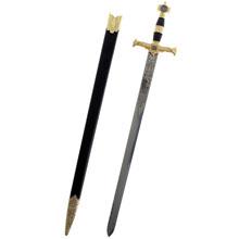 Сувенирное изделие меч, лезвие с узором, золотая отделка, SL7327