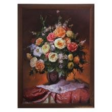 Картина в рамке Букет чайных роз     размер  70 x 50 см