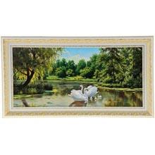 Картина в золотисто-белой рамке Лебеди на пруду  размер  70 x 33