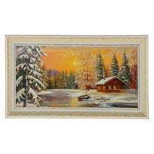 Картина в золотисто-белой рамке Домик в лесу размер  70 x 33 см